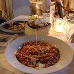 steak och pasta