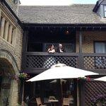 Bride and groom on veranda