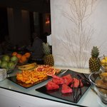 Variety of fruits at breakfast