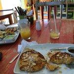 Coconut French Toast, Mayan Scramble, Organic Mexican Coffee, Mango Juice!!!