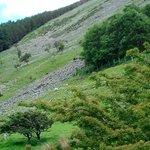 side of mountain next to aber falls