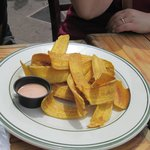 A plate of plantain chips.