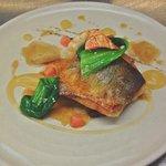 Sea bass, Roast Langoustine, Pancetta, Ginger Jus