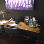 Minibar on desk
