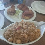 Fish pakora and chicken fried rice