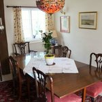 Antique furnished dining room.