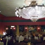 Large chandelier in ballroom