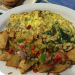 Veggie omelette with sausage and home fries....YUM!!