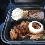 Pulled pork potato salad baked beans from big hungry Asian