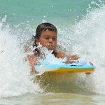 Kids love Boogie Boarding at Orient Beach
