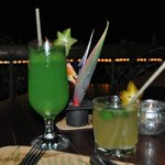 fresh mojito and a very very strong drink called Rainforest