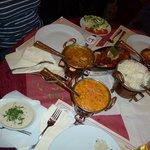 Blumenkohlcurry, Gemüsekorma, Chicken-Tandoori und Reis