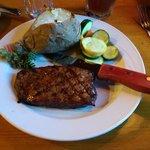 Flat Iron Steak, baked potato and steamed veggies