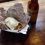 Small fajita and cold pacifico beer