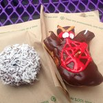 We mauled ours - chocolate coconut cake doughnut and a regular yeast voodoo doll doughnut