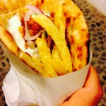 A chicken gyro without tomatoes (I'm not into tomatoes)