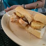 Grilled Shrimp & Fried Green Tomatoes Po Boy