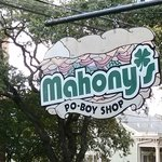 The famous sign welcoming you to Mahony's