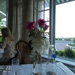 Anniversary flower arrangement at dinner.