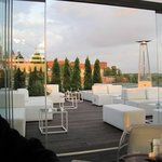 Rooftop lounge at sunset
