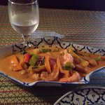Red curry with Pumpkin and shrimp.