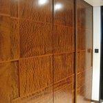 Wood paneled closet