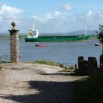 Boat leaving glasson dock, view from the lane at SP