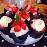 A taste of summer - fresh cream strawberry muffins!