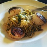 Pesto linguine and scallops. YUM!!