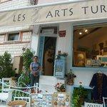Betul in front of her studio/store