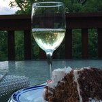 Wine and cake from Stone Hill winery restaurant