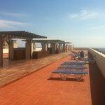 Rooftop sunbathing terrace.
