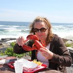 Mom ready to eat her lobster.