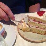 Illy espresso macchiato and strawberry cake.