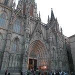 Barcelona, España, Catedral de Santa Eulàlia. Fachada entrada principal.