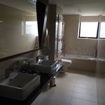 Bathroom. Shower is behind me and it's also very spacious, modern and clean :)