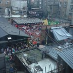 The bar patio from room window. This was during the World Cup, so may not be typical crowd size
