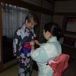You can get a lesson from the staff on Japanese Yakata / Kimono dressing