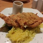 soft shell crab over brussel sprouts & spaghetti squash
