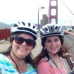 mom and britt biking to sausalito