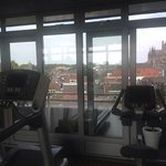 The fitness centre is clean and airy with lovely views across town.