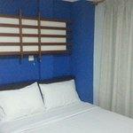 Compact bedroom.