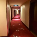 Hall way to hotel rooms