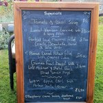 The special menu board - the lovely waitress carried it out to the garden for me to have a look!