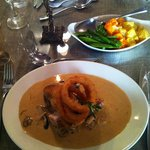 My special main course (guinea fowl with wild mushrooms in shallot sauce and onion rings)