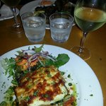 My delicious vegetarian moussaka and wine