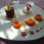 Oreillons d'abricots rôtis à la cassonade,  Crème brûlée à la marjolaine, sablé breton à la fle