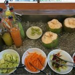 Fresh fruits and juices at breakfast