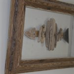 The driftwood theme carried through into the rooms..