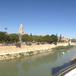 соборная колокольня с другого берега реки
